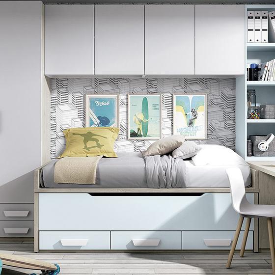 habitacion bicama con armario y escritorio en l portada