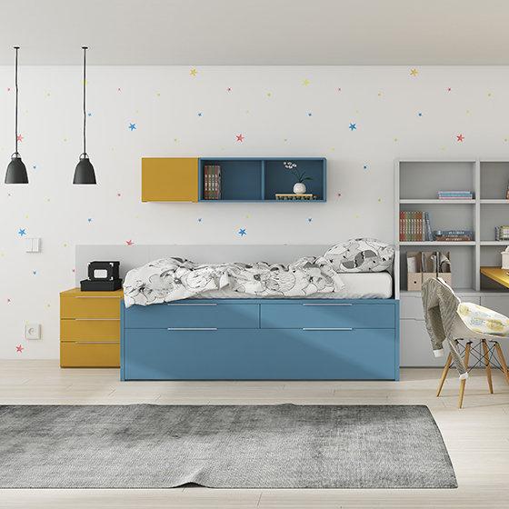 habitacion cama compacta amplios cajones y escritorio portada
