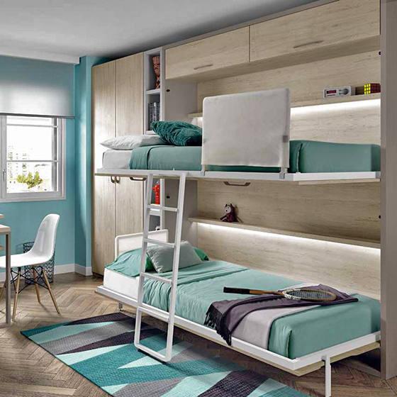 habitacion con literas abatibles armario yzona de estudio portada