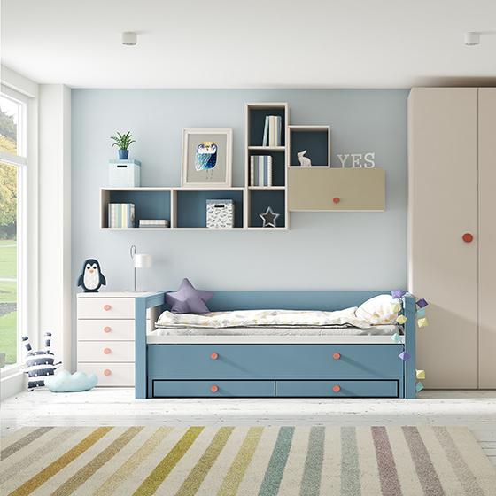 habitacion juvenil cama compacta con cajones y armarios portada