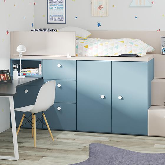 habitacion rubbikblok cama armarios y mesa estudio portada