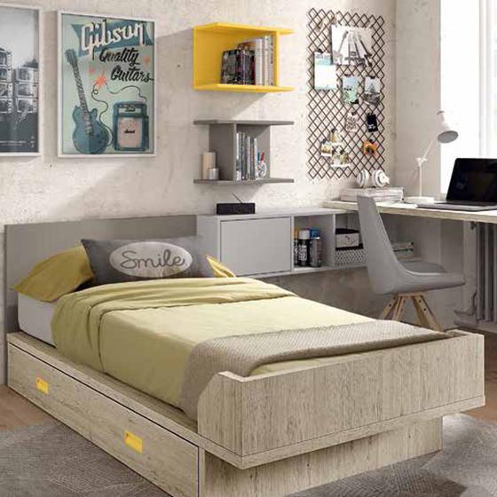 Cama individual con armario y zona de estudio | Home Interiores ...