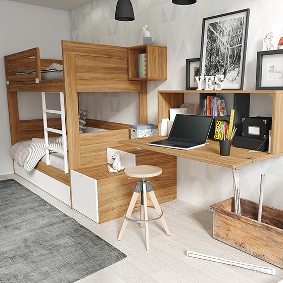 conjunto de literas con escritorio volado y cubos portada