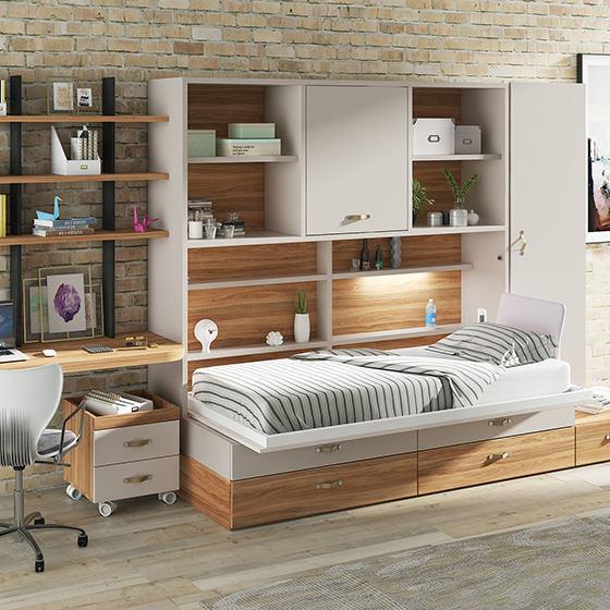 habitacion cama abatible mesa estudio portada