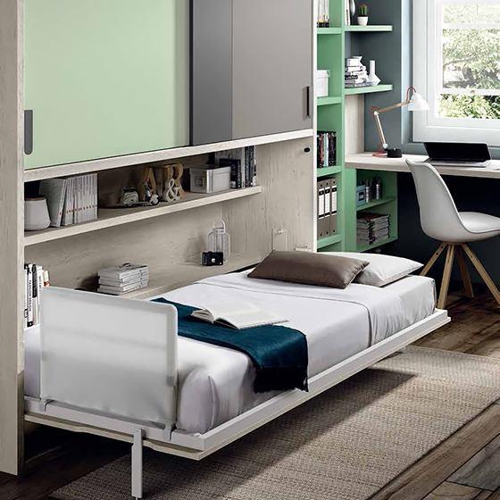 habitacion con cama habatible y zona de estudio abierta portada