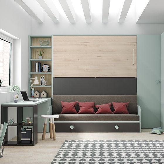 habitacion dos camas abatibles armirio  y zona de estudio portada
