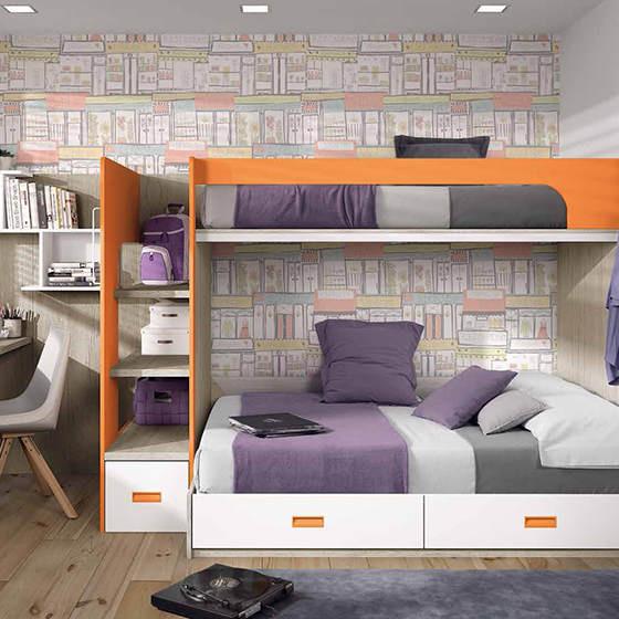 habitacion estrecha con literas y zona de estudio portada